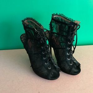 Betsey Johnson high heeled lace lace-up booties